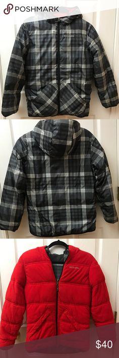 Columbia Boys Hooded Reversable Puffer Jacket Columbia Boys Reversable Black Plaid and Red Puffer Coat. Slightly worn. Boys Medium 10-12. Columbia Jackets & Coats Puffers