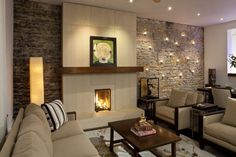 love the brick wall and fireplace