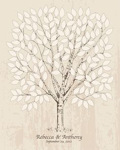Wedding Guest Book Alternative Hand-drawn wedding tree Unique Wedding Keepsake Poster Wedding gift bridal shower gift guestbook tree 150 on Etsy, $40.00