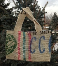 Burlap tote; medium size, fully lined with pocket.