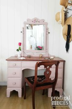 Diy Furniture : Simply Chic Vintage Vanity Painted Tea Rose Pink by Prodigal Pieces Diy Furniture Projects, Furniture Makeover, Furniture Refinishing, Diy Projects, Vintage Furniture, Painted Furniture, Pink Furniture, Furniture Vanity, Farmhouse Quilts
