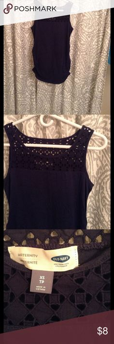 Laser Cut Maternity Tank Navy blue maternity tank top with cut out neckline. Side shirred for a growing baby bump! Old Navy Tops Tank Tops