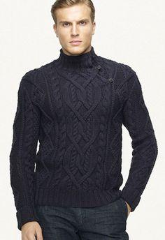 Men in Sweaters Cable Sweater, Men Sweater, Moda Crochet, Ralph Lauren, Hand Knitted Sweaters, Mens Jumpers, Knitting Designs, Hand Knitting, Knitwear