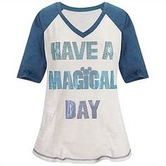 Burnout Raglan ''Have a Magical Day Mickey Mouse'' Tee for Women -- Blue   Tops   Disney Store