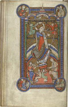 The Hunterian Psalter, England: c. 1170. Folio 21v: full page miniature depicting David tuning his harp