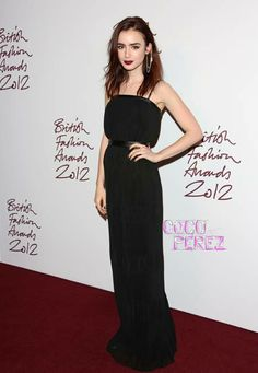 Lily Collins wearing Mulberry at the 2012 British Fashion Awards