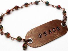 Peace Stamped Bracelet Gemstone Beaded Jewelry by LittleBitsOFaith