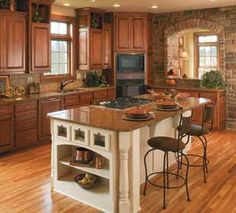 Kitchen Island Idea, corner tall pantry and cupboard idea