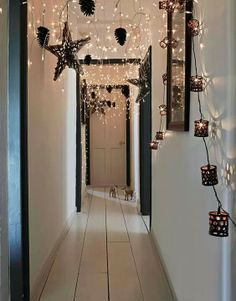 Hang Christmas lights in the Hallway