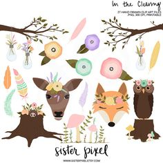 Spring Woodland Clip Art Graphics by SisterPixel on Etsy