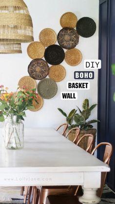 Home Decor Inspiration, Home Decor Bedroom, Diy Wall Decor, Entryway Decor, Affordable Home Decor, Apartment Decor, Baskets On Wall, Home Diy, Trending Decor