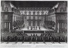 """Representación de """"Alceste"""", ópera de Lully"""", en la Cour de Marbre del palacio de Versalles"""