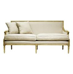 This is perfection - St. Germain French Country Natural Oak Louis XVI Natural Linen Sofa