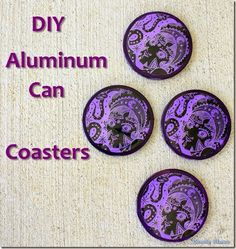Aluminum soda pop can craft: How to make round beer can coasters. Good gift idea for Mother