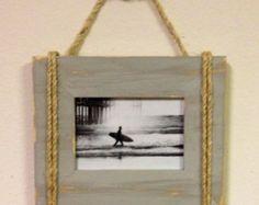 Cala de Shabby Chic náuticas playa casa 5 X 7 cuerda barco marco en gris de Driftwood apenado