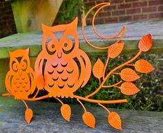 Metal Owl Decor/ Bright Orange /Whimsical Wall by AquaXpressions