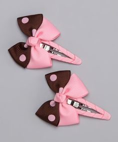 Take a look at this Brown  Pink Clip Set by Bitty Bop Bows on #zulily today!