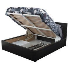 MALM Sängynrunko, jossa säilytystilaa - mustanruskea, 140x200 cm - IKEA