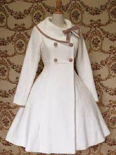 Classic Turndown White Woollen Winter Lolita Dress | Cheap lolita coats Sale