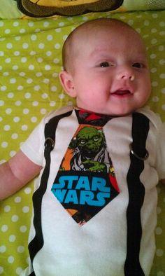 Star Wars Character Tie and Suspenders Onesie by rebasheba on Etsy Dream Baby, Baby Love, Baby Baby, Baby Shower Parties, Baby Boy Shower, Onesies, Tie Onesie, Baby Onesie, Star Wars Nursery