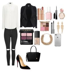 """""""Business dinner !"""" by lovepink75 ❤ liked on Polyvore featuring Topshop, Christian Louboutin, MICHAEL Michael Kors, Valentino, Stephen Webster, Charlotte Tilbury, Essie, Bulgari, NARS Cosmetics and Gucci"""