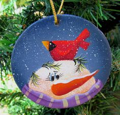 Snowman and Cardinal Christmas  Ornament Hand by PaintingByEileen, $6.00