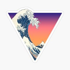 Great Wave Aesthetic by ind3finite | Redbubble Great Wave Off Kanagawa, Aesthetic Stickers, Vaporwave, Top Artists, Sticker Design, Designs To Draw, Cyberpunk, Finding Yourself, Waves