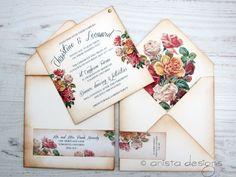 anista designs - boho chic vintage wedding invitation www.anistadesigns.com
