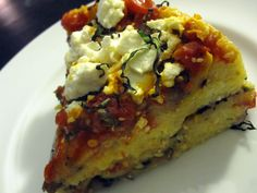 Eggplant Polenta Lasagna: This healthy spin on traditional lasagna is loaded with veggies and bursting with flavor. Polenta is used in place of noodles and goat cheese in place of ricotta in this layered one dish wonder. #MeatlessMonday