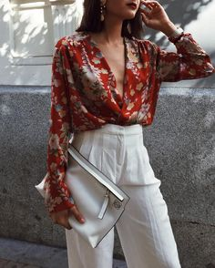 red flowery blouse + high waisted white trousers