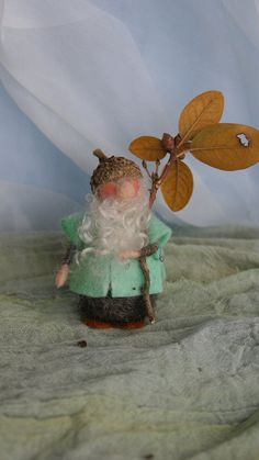 Willi the Acorn Gnome 3 inch by FairyfeltbySiSo on Etsy