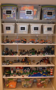 perfect for finished lego projects! Neat Little: Lego & Toy Organization perfect for finished lego projects! Neat Little: Lego & Toy Organization Lego Sets, Toy Closet Organization, Organization Ideas For Toys, Legos, Lego Storage, Storage Ideas, Lego Shelves, Ikea Storage, Storage Design