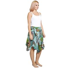 women's Uneven high low Knee lenth Summer skirt-Turquoise-S/M