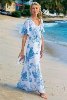 Captiva Dress - Coastal Shell Print Dress, Sequin Chiffon Dress | Soft Surroundings