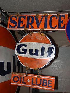 Antique Look Good Gulf Gas Station Pump Service Sign