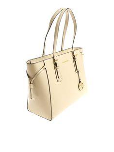 Michael Kors - Beige Voyager bag Michael Kors Jet Set, Fashion Bags, Spring Summer, Beige, Tote Bag, Zip, Metal, Leather, Fashion Handbags