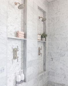Bathroom shower tile ideas are a lot in choices. Grab some inspirations here and check out these shower tile ideas to revamp your old bathroom shower! Bathroom Renos, Bathroom Renovations, Bathroom Interior, Modern Bathroom, Bathroom Ideas, Bathroom Organization, Bathroom Showers, Bathroom Storage, Marble Showers