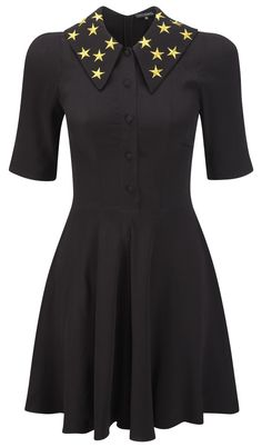 Star collar black dress