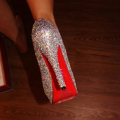 Crystal Red Bottom Heels I custom made these for my wedding. They are not Swarovski. Each and every gem was hand placed. Perfect for a special occasion or night out. Christian Louboutin Inspired. (2) gems missing see photos. (Unnoticeable when worn) Shoes Heels