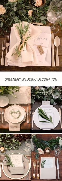 65 Ideas for wedding elegant table place settings Wedding Table Place Settings, Wedding Table Flowers, Wedding Reception Tables, Rustic Wedding Centerpieces, Wedding Decorations, Reception Ideas, Wedding Ceremony, Wedding Events, Wedding Greenery
