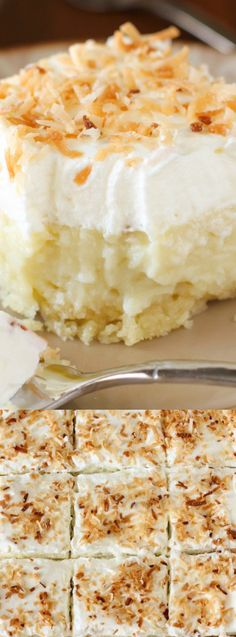 They're a heavenly mix of creamy coconut, a cloud of whipped cream atop a buttery shortbread crust. It doesn't get any better than this for a coconut fan! via @bestblogrecipes
