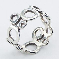 Silver ring 925 sterling open connected circles size 6us 7us 8us 9us  11mm wide