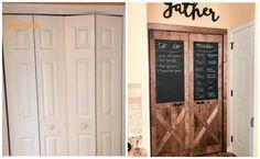 DIY Barn Doors: Turn White Bi-fold Doors into Barn Doors for Under $90 Diy Closet Doors, Closet Door Makeover, Cabinet Door Makeover, Bi Fold Pantry Doors, Diy Cabinet Doors, Barn Door Closet, Diy Barn Door, Diy Door, Home Renovation