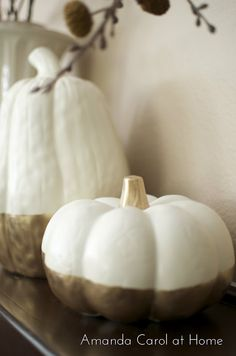 White and gold pumpkins