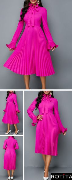 6aac24caa691 Tie Neck Long Sleeve Rose Red Pleated Dress .There's no such thing as too  much