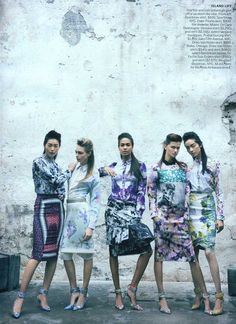 Liu Wen, Cara Delevingne, Joan Smalls, Kasia Struss and Fei Fei Sun by Peter Lindbergh for Vogue US