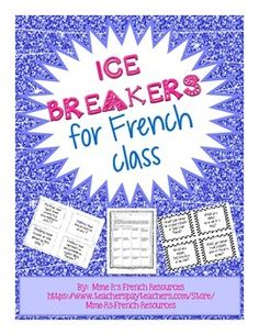 Here are 4 ice breakers that I find useful for the first few days of school. All activities are available in French or English for the varying levels of students out there.Activities Find someone who - in the same format as all of my Find someone who. Get To Know You Activities, First Day Of School Activities, 1st Day Of School, Beginning Of The School Year, School Resources, French Teacher, Teaching French, French Club Ideas, French Education