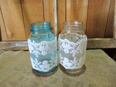 I've been deejaying dances, weddings and special events for 13 years. Wedding Props, Wedding Decorations, Sherwood Oregon, Lace Jars, Rustic Wedding, Our Wedding, Quart Size Mason Jars, Mason Jar Lamp, Lace Sleeves