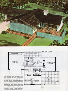 great plans for cabins & mid-century homes Modern Floor Plans, Modern House Plans, Small House Plans, House Floor Plans, The Plan, How To Plan, The Sims, Sims 4, Mid Century Ranch