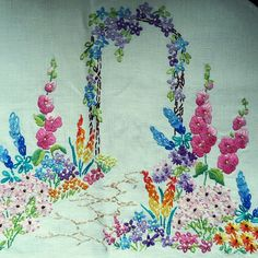 Bootsale find of the day....a beautiful piece of hand embroidery. The colours are so vibrant. #vintage #vintagehome #embroidery